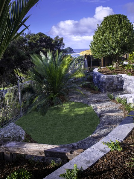 Landscape design for a steep coastal section in Mangawhai, near Whangarei