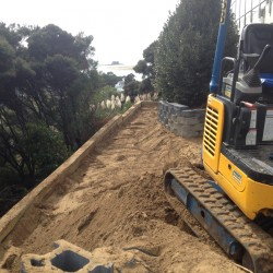 timber retaining wall construction